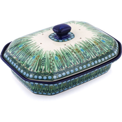 "Polish Pottery Dish with Cover 12"" Green Prairie UNIKAT"