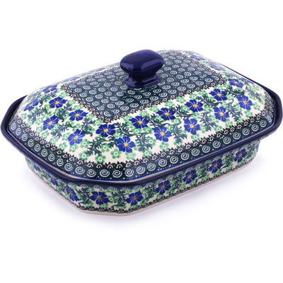 "Polish Pottery Dish with Cover 12"" Swirling Emeralds"
