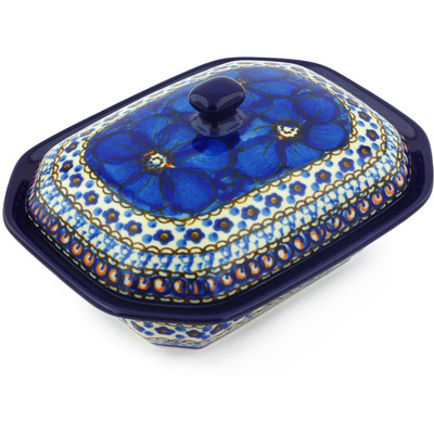 "Polish Pottery Dish with Cover 7"" Cobalt Poppies UNIKAT"
