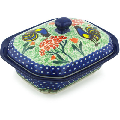 "Polish Pottery Dish with Cover 7"" Rooster Dance UNIKAT"