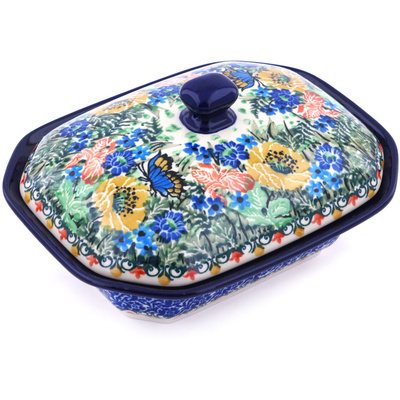 "Polish Pottery Dish with Cover 7"" Sipping Nectar UNIKAT"