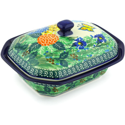"Polish Pottery Dish with Cover 7"" Spring Garden UNIKAT"