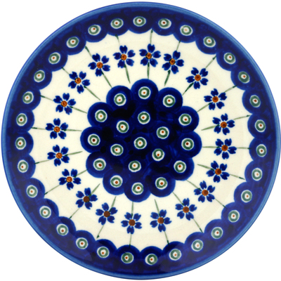 Polish Pottery Divided Dessert Plate Flowering Peacock