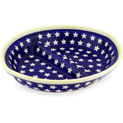 "Polish Pottery Divided Dish 10"" America The Beautiful"