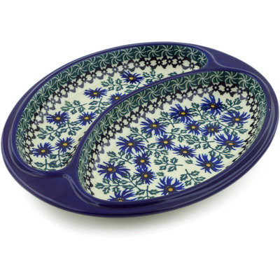 "Polish Pottery Divided Dish 10"" Blue Chicory"