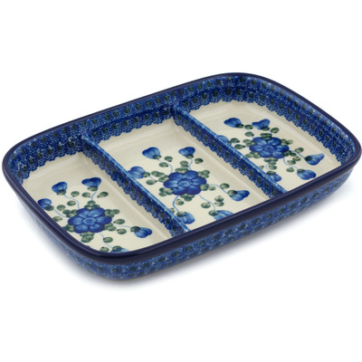 "Polish Pottery Divided Dish 10"" Blue Poppies"