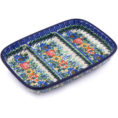 "Polish Pottery Divided Dish 10"" Delightful Theme UNIKAT"