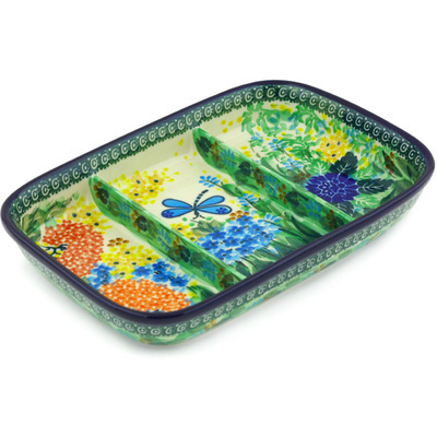 "Polish Pottery Divided Dish 10"" Garden Delight UNIKAT"
