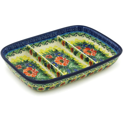 "Polish Pottery Divided Dish 10"" Splendid Meadow UNIKAT"
