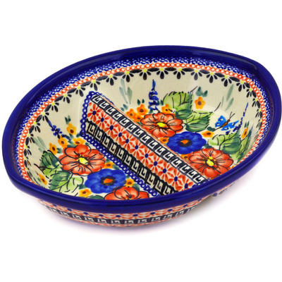 "Polish Pottery Divided Dish 8"" Spring Splendor UNIKAT"