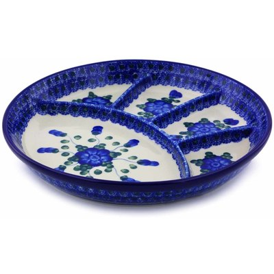 "Polish Pottery Divided Dish 9"" Blue Poppies"
