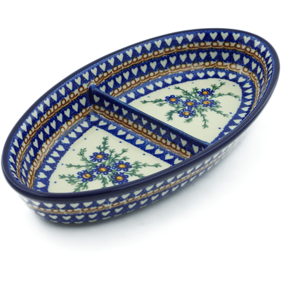 "Polish Pottery Divided Dish 9"" Mother's Love UNIKAT"