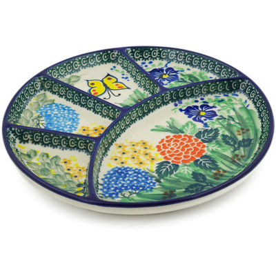 "Polish Pottery Divided Dish 9"" Spring Garden UNIKAT"