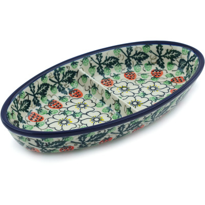 "Polish Pottery Divided Dish 9"" Strawberries And Cream UNIKAT"
