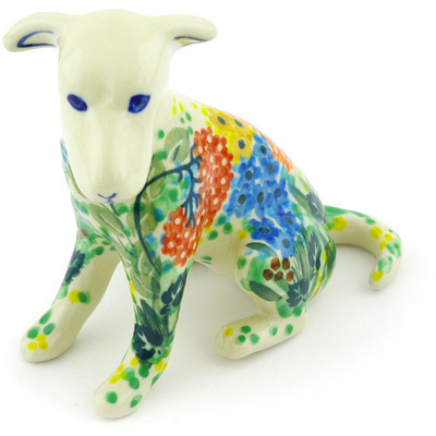 "Polish Pottery Dog Figurine 4"" Garden Delight UNIKAT"