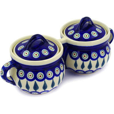 "Polish Pottery Double Jar 11"" Peacock Leaves"