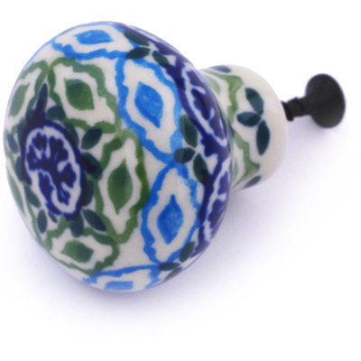 "Polish Pottery Drawer Pull Knob 1"" Aztec Eyes"