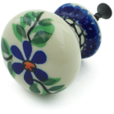 "Polish Pottery Drawer Pull Knob 1"" Blue Daisy Swirls"