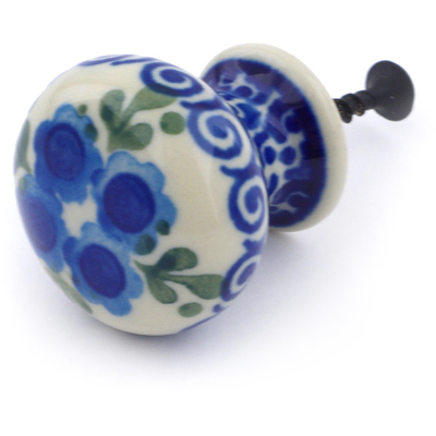 "Polish Pottery Drawer Pull Knob 1"" Blue Poppy Wreath"