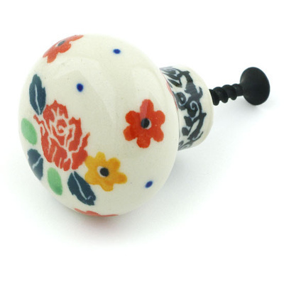 "Polish Pottery Drawer Pull Knob 1"" Flower Speckle"
