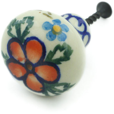 "Polish Pottery Drawer Pull Knob 1"" Lancaster Rose"