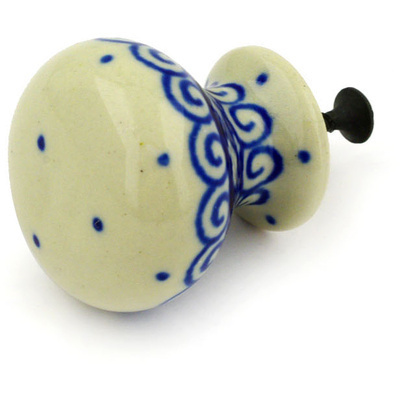 "Polish Pottery Drawer Pull Knob 1"" Light Hearted"