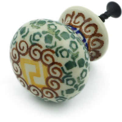 "Polish Pottery Drawer Pull Knob 1"" Mediterranean Sea"