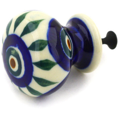 "Polish Pottery Drawer Pull Knob 1"" Peacock Leaves"