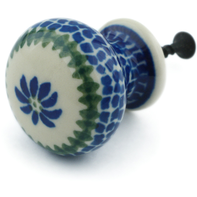 "Polish Pottery Drawer Pull Knob 1"" Polka Dot Daisy"