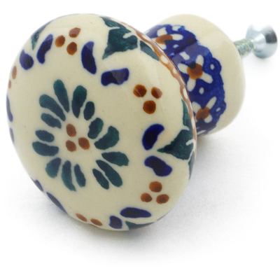 "Polish Pottery Drawer Pull Knob 2"" Blue Cress UNIKAT"