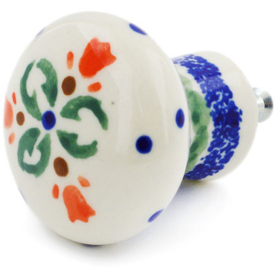 "Polish Pottery Drawer Pull Knob 2"" Cocentric Tulips"