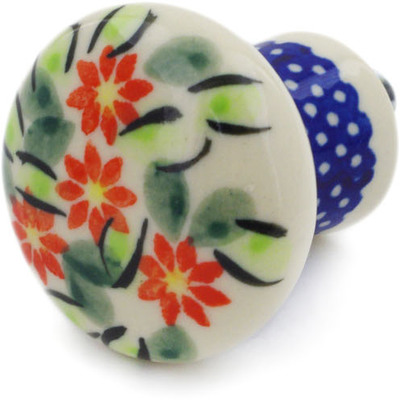 "Polish Pottery Drawer Pull Knob 2"" Elegant Garland"
