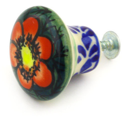 "Polish Pottery Drawer Pull Knob 2"" Rainbow Poppies UNIKAT"