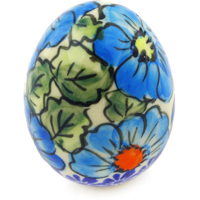 "Polish Pottery Egg Figurine 3"" Bold Blue Poppies UNIKAT"