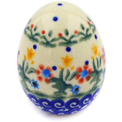 "Polish Pottery Egg Figurine 3"" Spring Flowers"