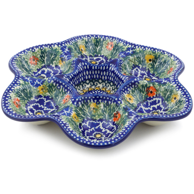 "Polish Pottery Egg Plate 8"" Dancing Pansies UNIKAT"