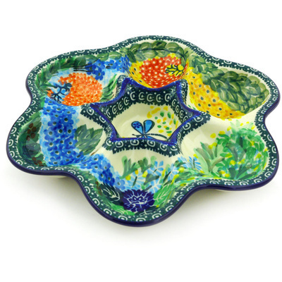 "Polish Pottery Egg Plate 8"" Garden Delight UNIKAT"