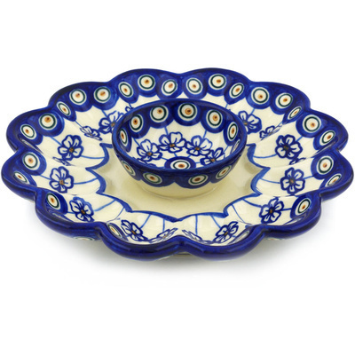 "Polish Pottery Egg Plate 9"" Flowering Peacock"