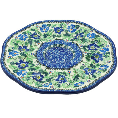 "Polish Pottery Egg Plate 9"" Morning Glory Wreath UNIKAT"