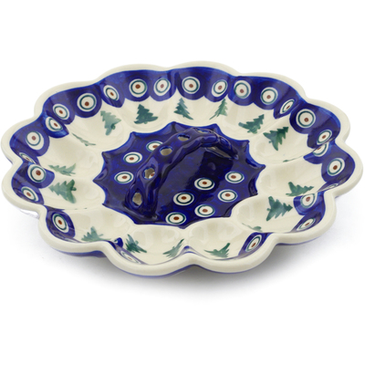 "Polish Pottery Egg Plate 9"" Peacock Pines"