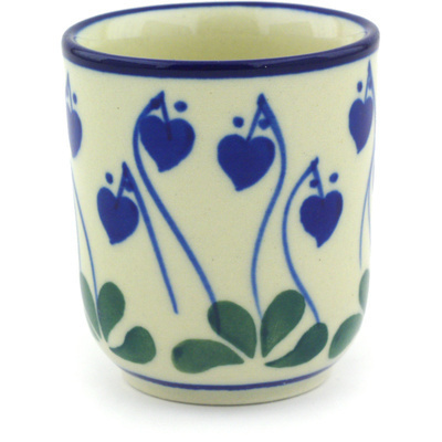 Polish Pottery Espresso Cup 2 oz Bleeding Heart Peacock