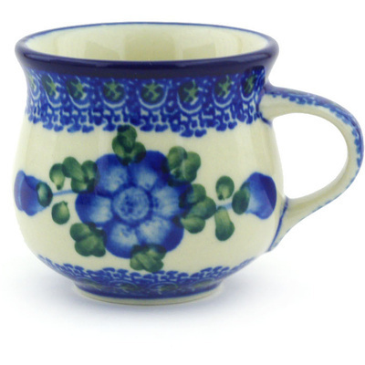 Polish Pottery Espresso Cup 2 oz Blue Poppies