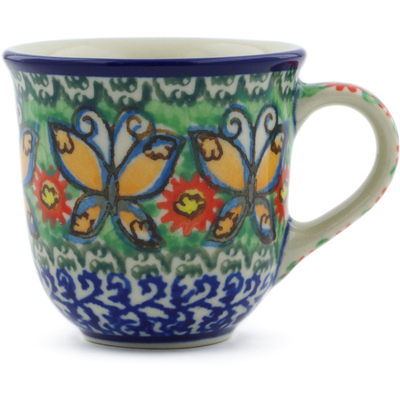 Polish Pottery Espresso Cup 2 oz Butterfly Chain UNIKAT