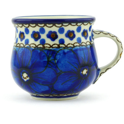 Polish Pottery Espresso Cup 2 oz Cobalt Poppies UNIKAT