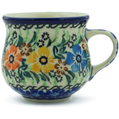 Polish Pottery Espresso Cup 2 oz Flower Patch UNIKAT