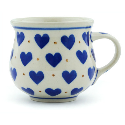 Polish Pottery Espresso Cup 2 oz Heart Of Hearts