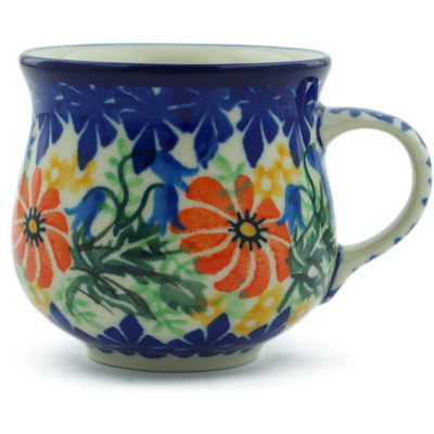 Polish Pottery Espresso Cup 2 oz Secret Garden UNIKAT