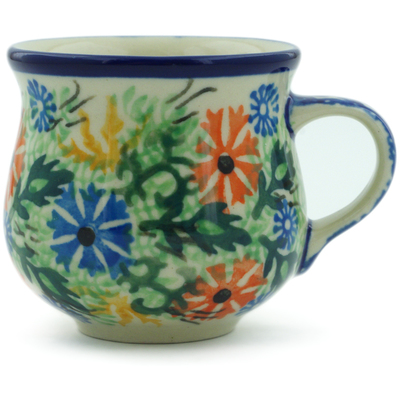 Polish Pottery Espresso Cup 2 oz Wildflowers In The Wind UNIKAT