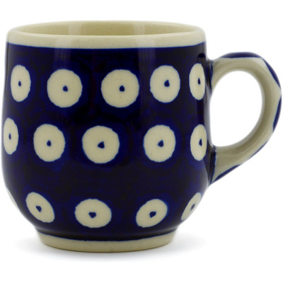 Polish Pottery Espresso Cup 4 oz Blue Eyed Peacock