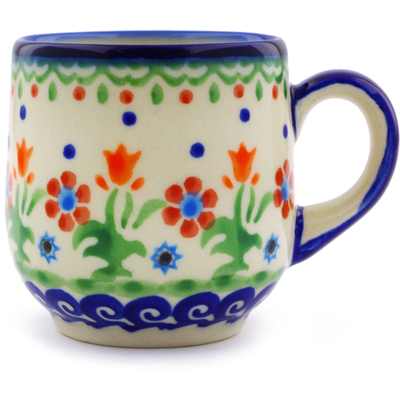 Polish Pottery Espresso Cup 4 oz Spring Flowers